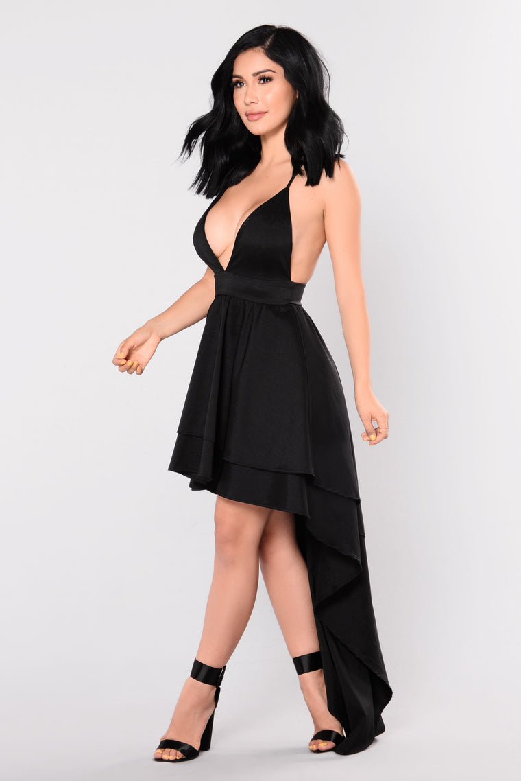 Gia Open Back Dress - Black
