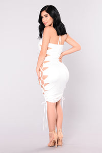 Venenzia Lace Up Dress - Off White
