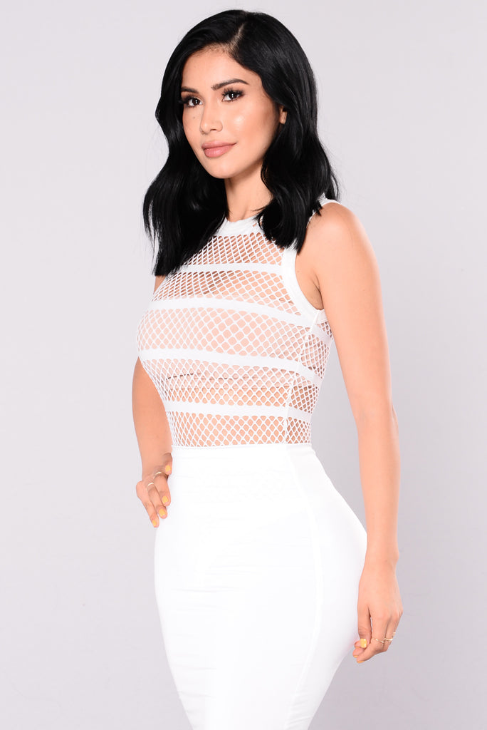 Spread The Word Fishnet Bodysuit - White