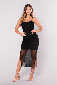 Don't You Dare Fishnet Dress - Black