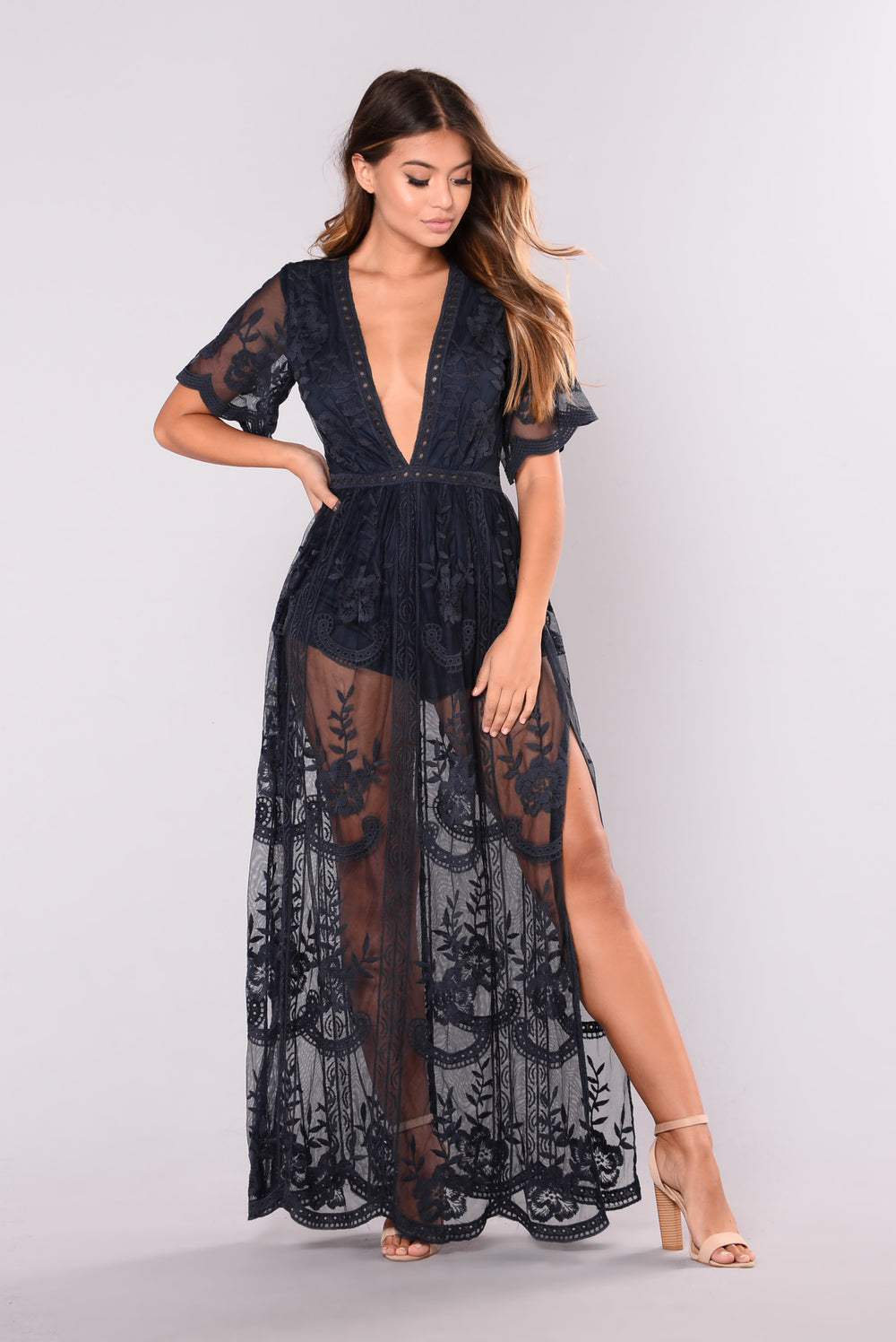 Set Our Love On Fire Dress - Navy