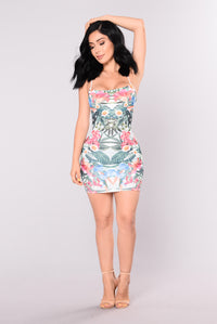 Lovely Tropical Dress - White