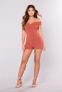 City Of Love Off Shoulder Romper - Marsala