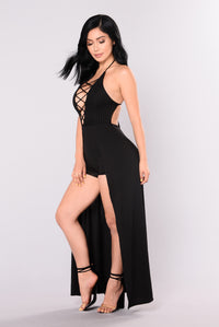 Dory Lace Up Dress - Black