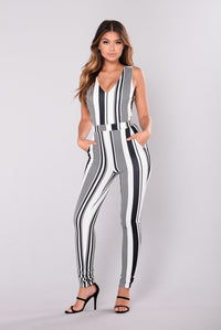 Surie Striped Jumpsuit - Black/White