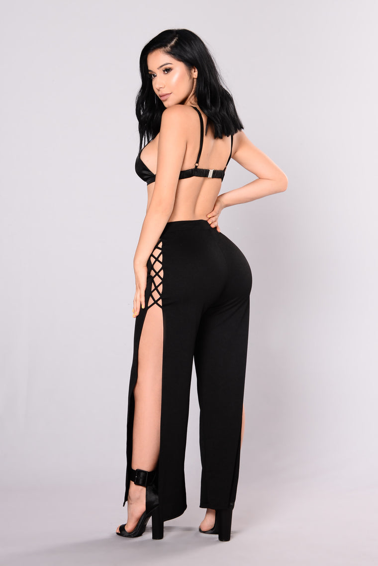 In The Night Lace Up Pants - Black