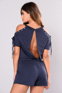Mood And Feels Romper - Navy