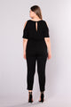 For Sure Cold Shoulder Jumpsuit - Black
