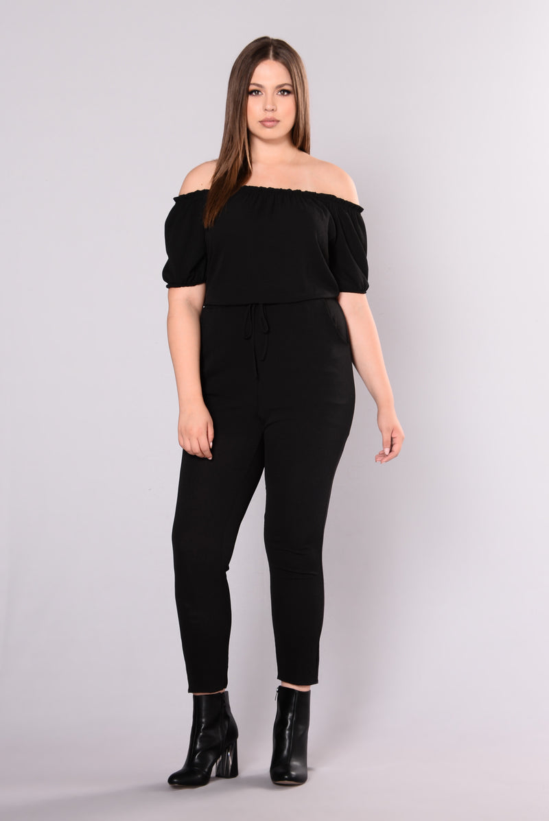 Desma Off Shoulder Jumpsuit - Black