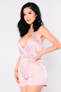 My Lady Satin Romper - Mauve
