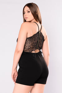 Oh Baby Lace Romper - Black Angle 1