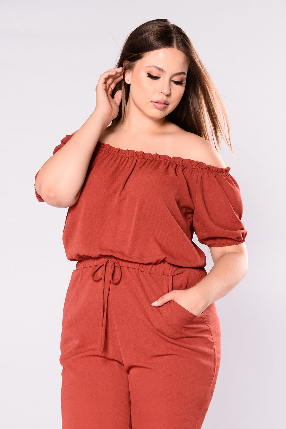 Desma Off Shoulder Jumpsuit - Mauve
