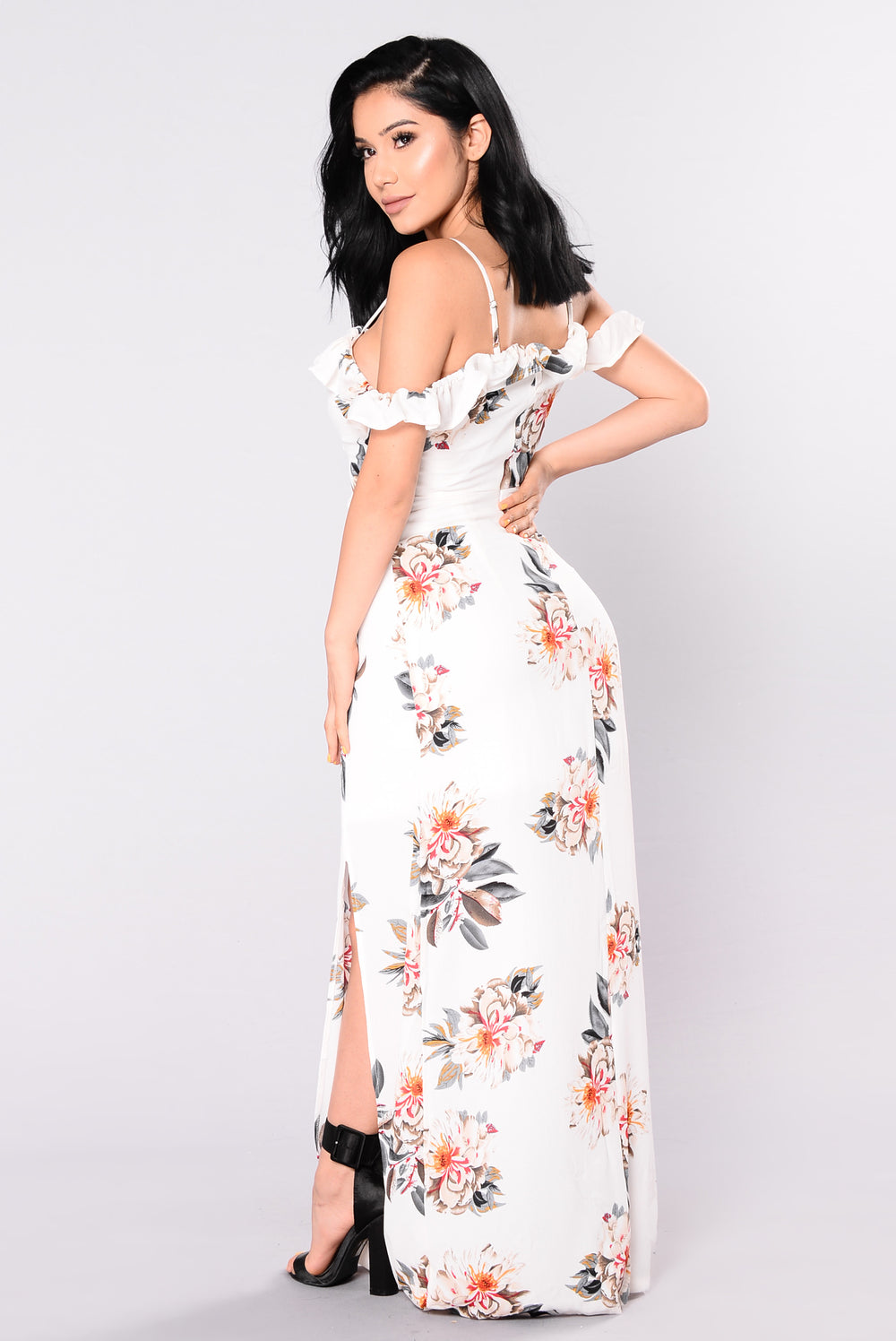 Japanese Garden Floral Dress - White