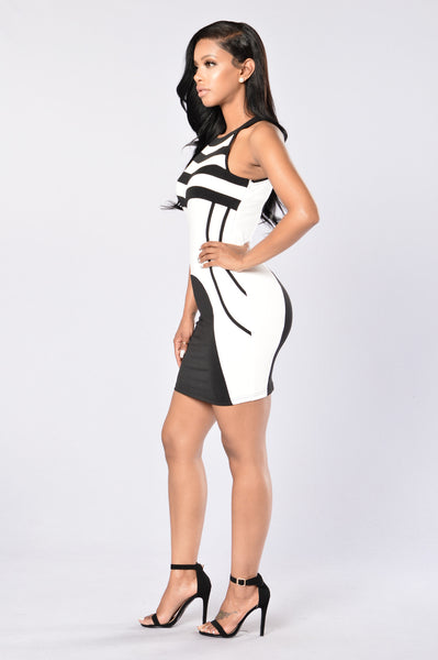 I Mean Business Dress - White/Black