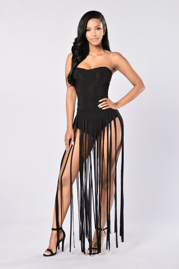 Fringe Me Down Dress - Black