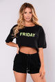 It's Friday Crop Top - Black/Neon Yellow
