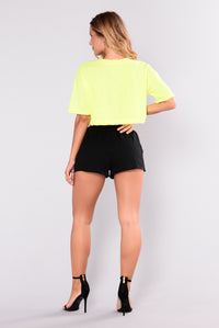 It's Saturday Crop Top - Neon Yellow/Black