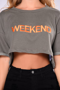 It's The Weekend Crop Top - Olive/Orange