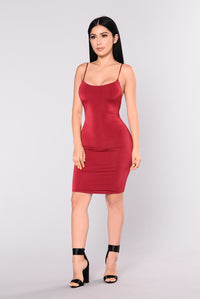You're Bad News Dress - Burgundy