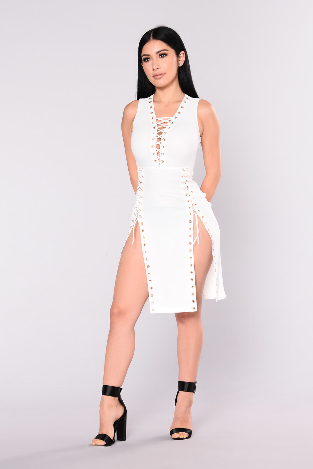 Napoli Eyelet Midi Dress - White