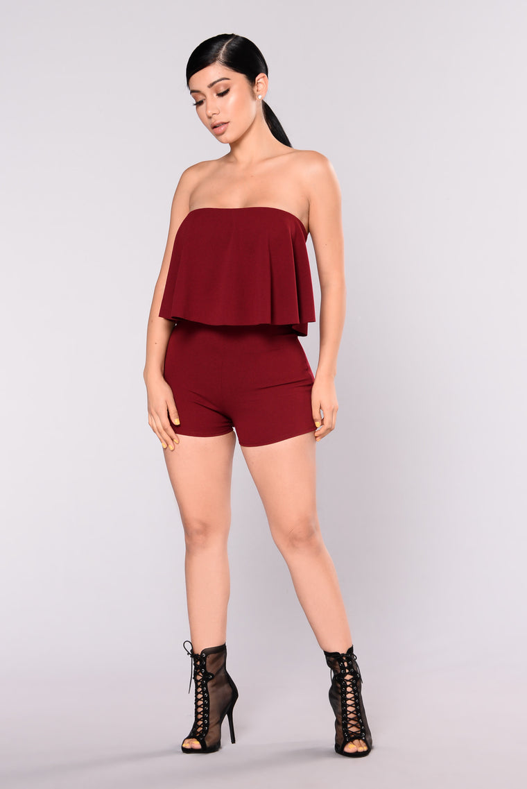 Love It Babe Romper - Wine