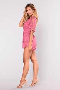 Set Our Love On Fire Romper - Raspberry