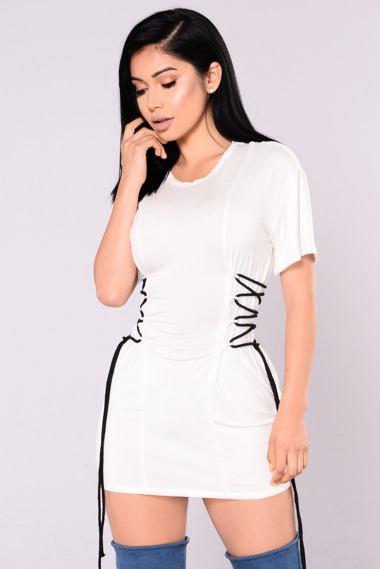 Ivanka Lace Up Top - White
