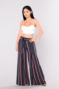 Beautiful Day Pants - Navy/Coral
