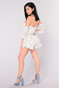 Pick You Up Off Shoulder Romper - Ivory
