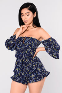 Pick You Up Off Shoulder Romper - Navy