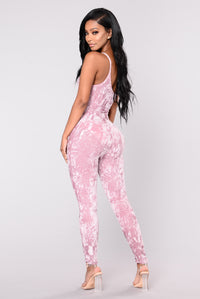 Mulholland Crushed Velvet Jumpsuit - Mauve