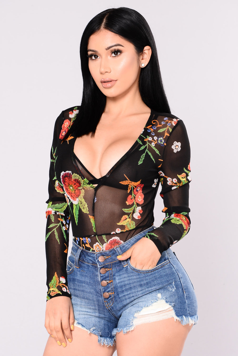 Without Doubt Bodysuit - Black Multi