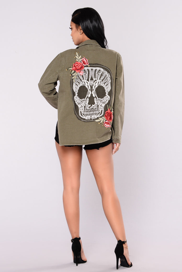 Love Until Death Jacket - Olive