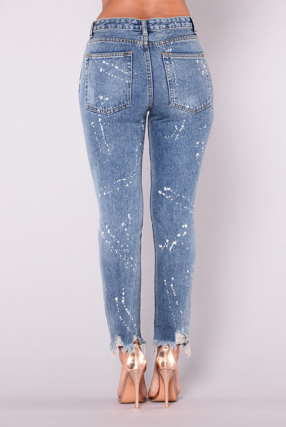 Posy Distress And Paint Jeans - Medium Blue