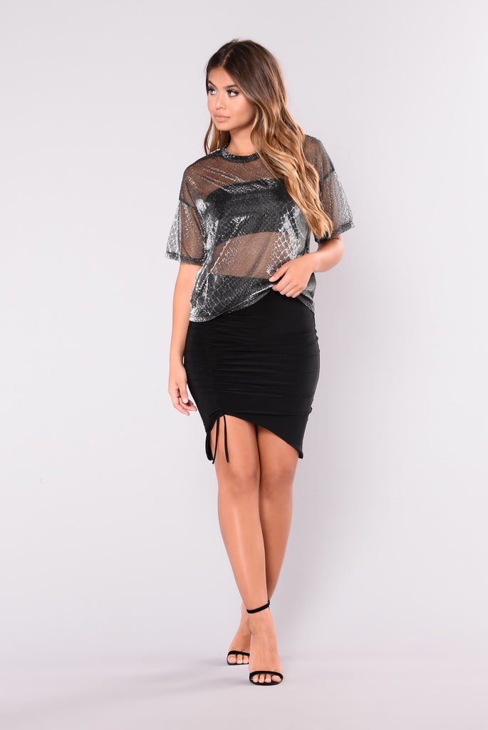 Silver Lining Mesh Top - Metallic