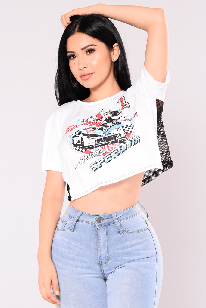 Aqui Crop T-Shirt - White/Black