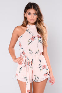 Beauty Is Within Floral Romper - Blush