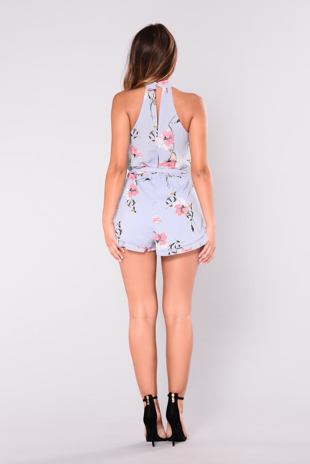 Beauty Is Within Floral Romper - Blue