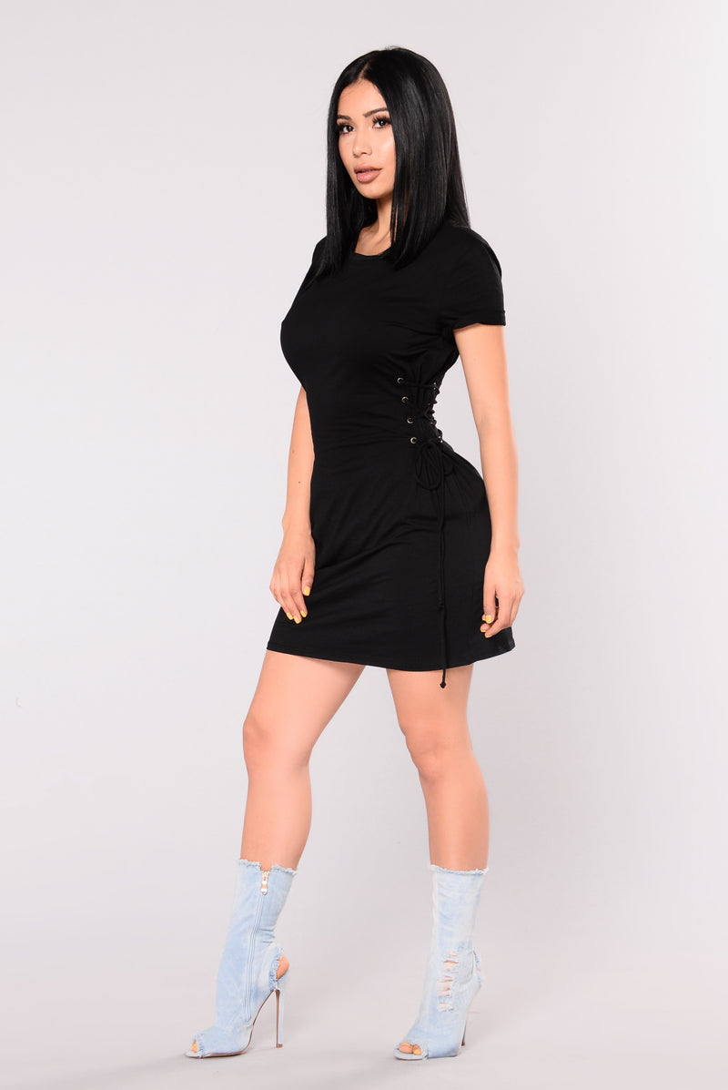 Skater Girl Lace Up Dress - Black