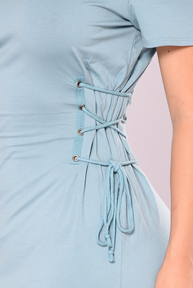 Skater Girl Lace Up Dress - Blue