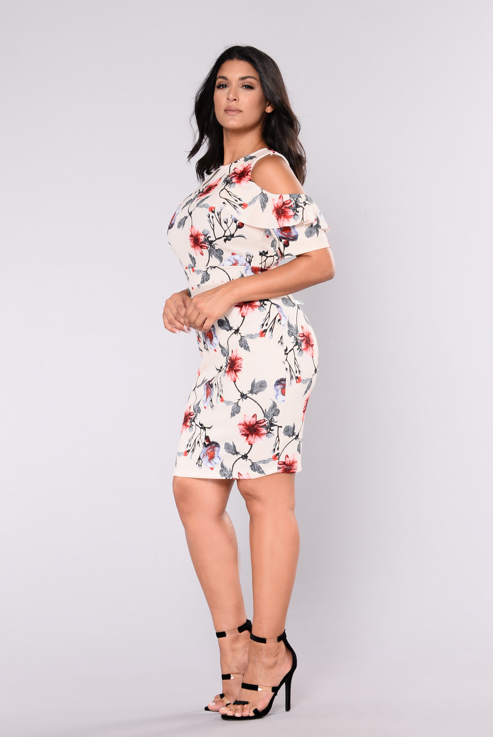 Cared For You Dress - Nude Floral