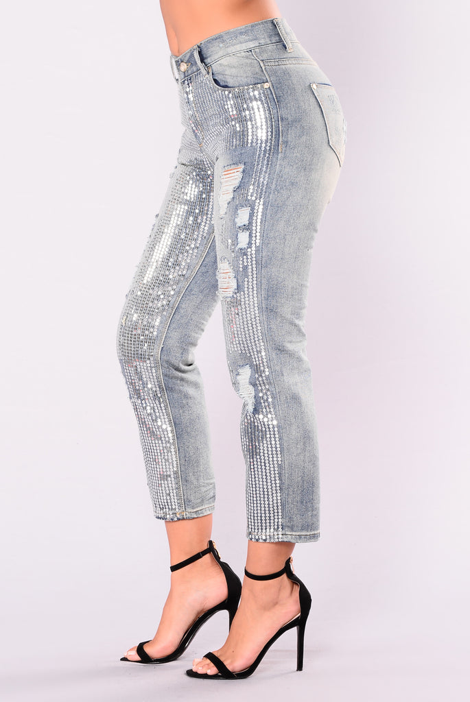 Melosa Sequined Jeans - Silver