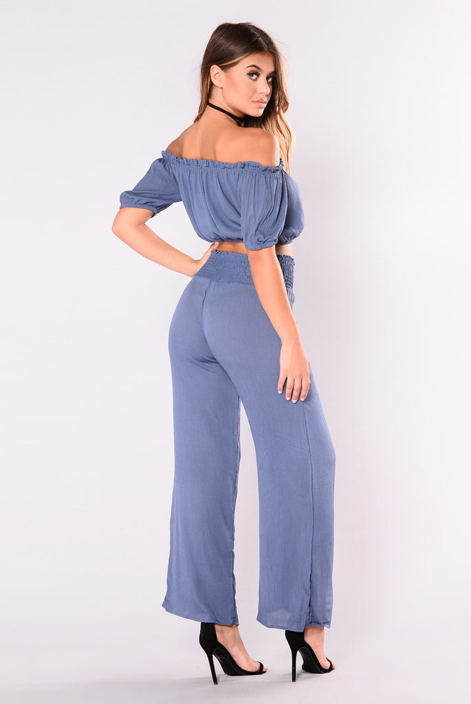 Glamour Wide Leg Pants - Blue