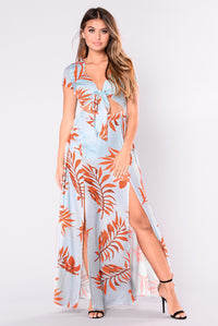 Serenity Garden Tropical Dress - Leaf Print