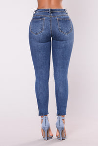 Stitched Heart Jeans - Medium Stone Wash
