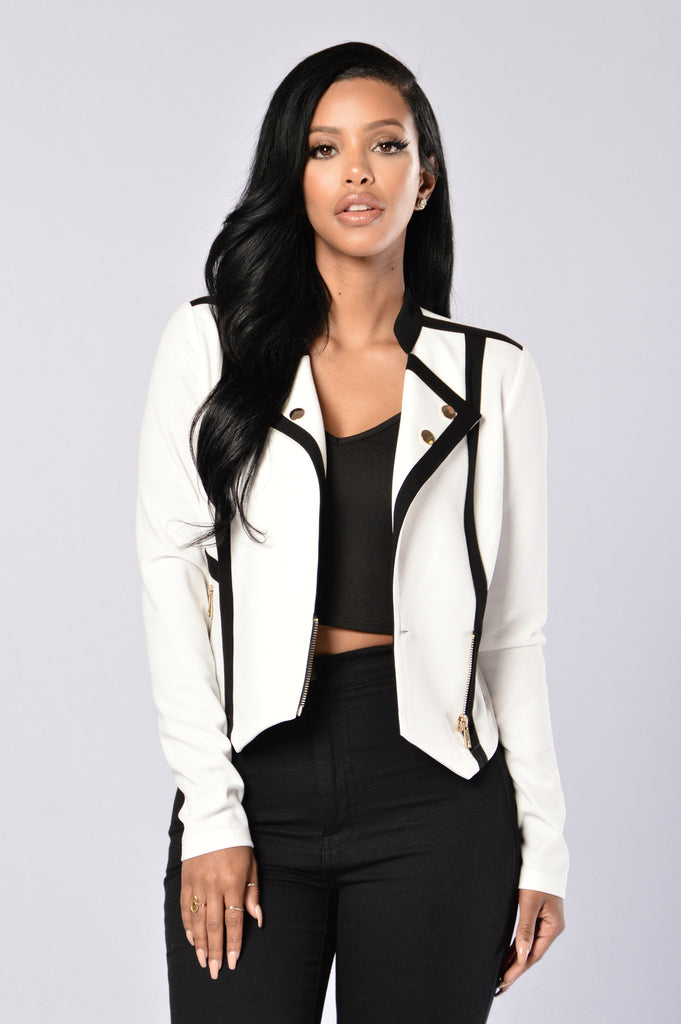 Angora Jacket - White/Black