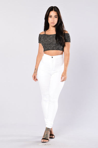Baby Come Back Crop Top - Black