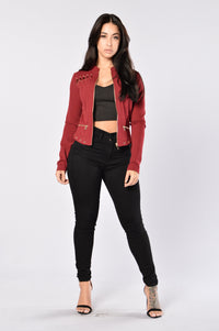 Fall In Line Jacket - Burgundy