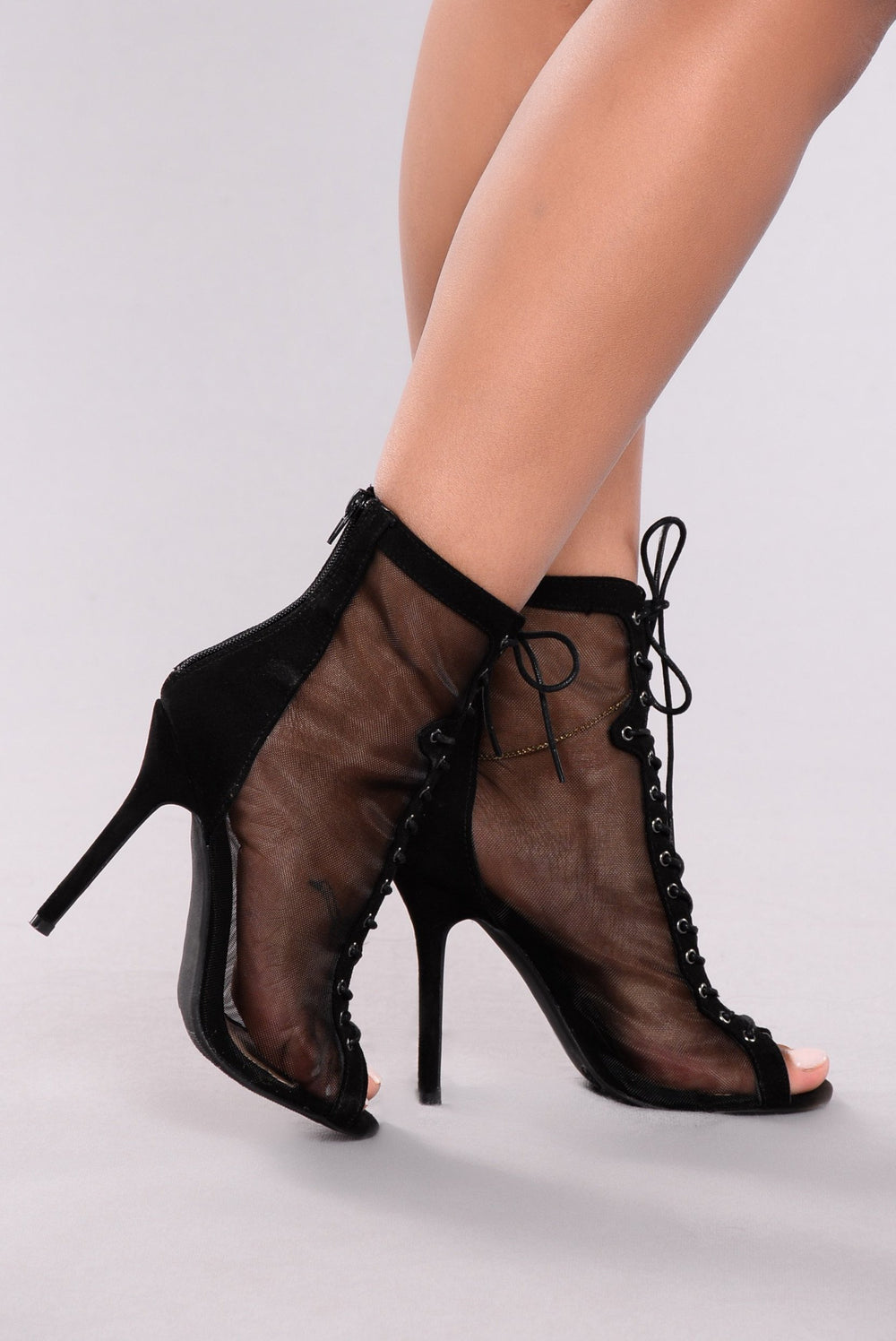 Breezy Mesh Lace Up Bootie - Black