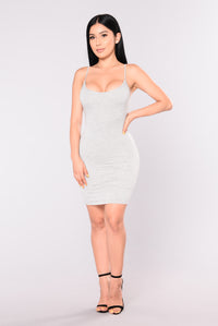 Nova Season Dress - Heather Grey Angle 2